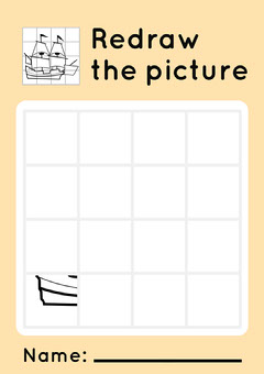 Yellow Redraw the picture Worksheet - A4  Boats