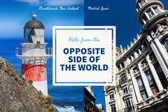 Light Toned, Blue and White Travel Postcard Hello