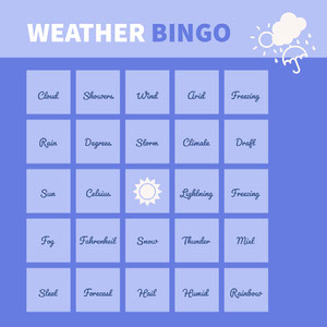 Blue and White Bingo Card Spillekort
