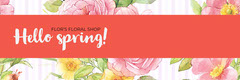 Pink and Flowered Pattern Hello Spring Banner Spring