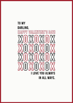 Typography Kisses and Hugs Valentine's Day Card Love