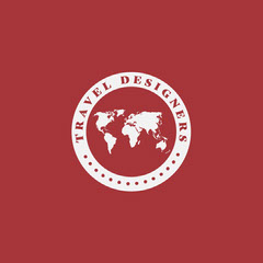 Red & White Circular World Travel Logo Square Travel Agency