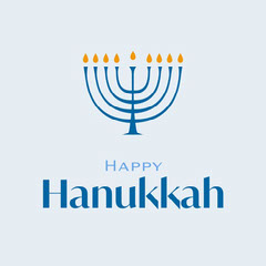 Blue and Yellow Minimalist Happy Hanukkah Social Graphic Hannukkah