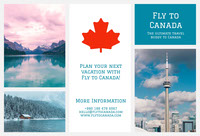 White and Blue Canada Travel Brochure Tri-Fold Brochure