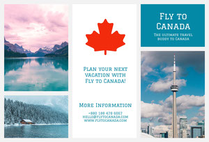 White and Blue Canada Travel Brochure Broschüre