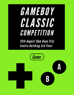 GAMEBOY CLASSIC COMPETITION Game Night Flyer