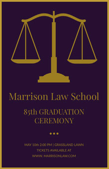 Gold and Purple Law School Graduation Poster with Scale Poster