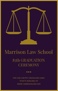 Gold and Purple Law School Graduation Poster with Scale Gold