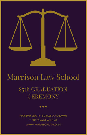 Gold and Purple Law School Graduation Poster with Scale Graduation Poster