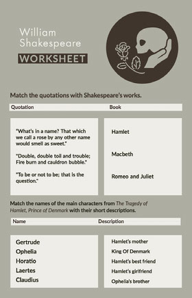 Grey and White William Shakespeare Worksheet School Project