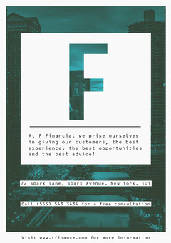 Blue and White Finance Business A5 Flyer Finance