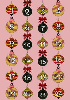 Pink Bauble Advent Calendar  Countdown