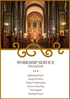 Church Program Flyer with Church Interior Photo Christianity