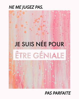 Pink Paint - Dont Judge Me. I was born to be awesome, not perfect IG Portrait Affiche de motivation