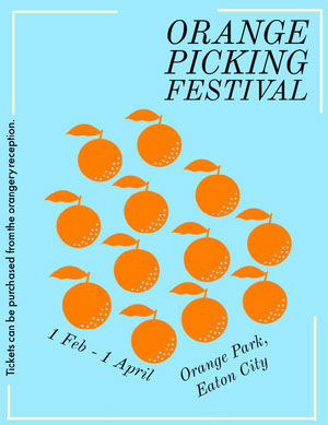 Blue Illustrated Orange Picking Festival Flyer  Ideas de volantes