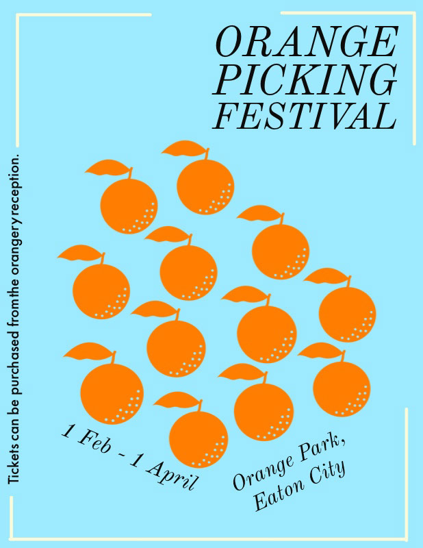 orange picking flyer  Ideas de volantes