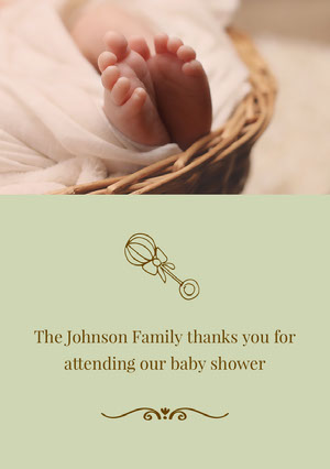 Green Baby Shower Thank You Card Baby Shower Thank You Card
