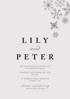 Winter Wedding Snowflake A5 Grey