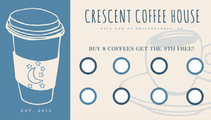 blue cafe loyalty card Custom Loyalty Card