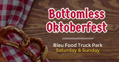 Red and Brown Bottomless Oktoberfest Facebook Advertisement Food Truck