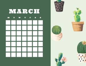 Green and White Empty Calendar Card 달력