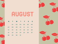 Pink and Green Calendar Card 日曆