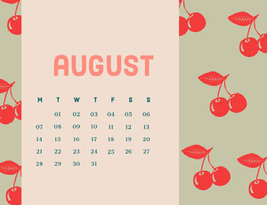 Pink and Green Calendar Card Calendrier