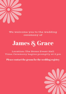 Pink and Red Wedding Invitation Wedding Invitation