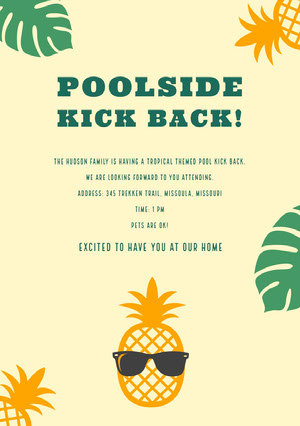 Yellow and Green Pool Party Invitation Party Invitation