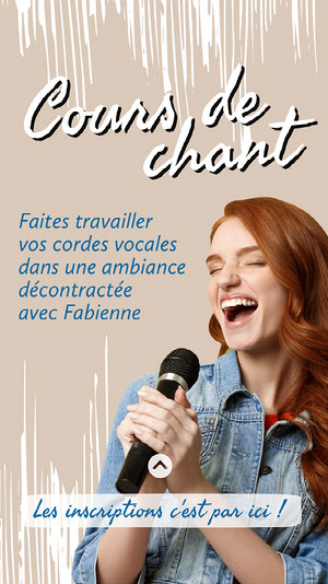 Beige And Blue Singer Singing Classes Instagram Story Flyer publicitaire