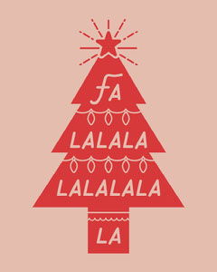 Pink and Red Christmas Tree Song Quote Christmas Party