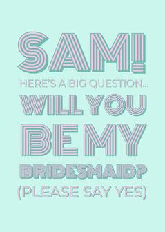 green and pink retro bridesmaid invitation Will You Be My Bridesmaid Card