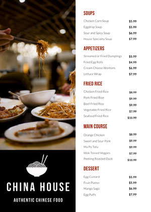 Chinese Restaurant Menu with Photo of Noodles and Chopsticks Menú