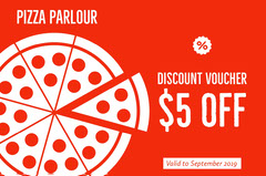 Red and White Discount Voucher Pizza