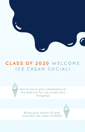 CLASS OF 2020 WELCOME<BR>ICE CREAM SOCIAL! Folleto de invitación a evento