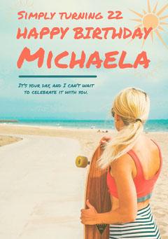 birthday card for woman  Beach