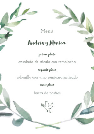 leaf framed wedding menu Menú