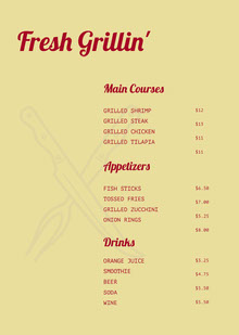 Claret and Green Bar Menu BBQ Menu
