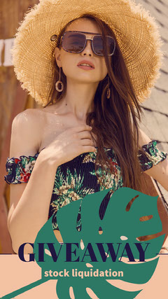 Summer Style Stock Liquidation Giveaway Facebook Story Ad with Woman in Straw Hat Giveaway