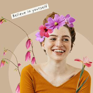 Beige Background Smiling Woman with Flowers Photo Inspirational Phrase Instagram Square 파란색 말풍선 유튜브 썸네일 용 얼굴 사진 배경 지우기