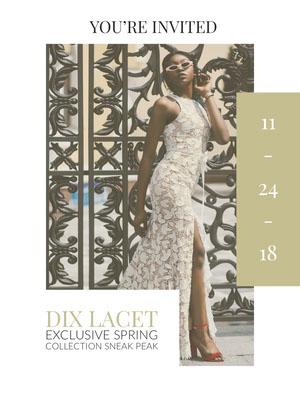 White With Model Fashion Show Invitation Fashion Show Flyer