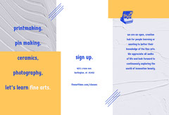 Yellow and Blue Fine Arts Course Brochure Educational Course