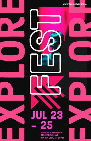 Pink and Black Explore Festival Event Poster Pôster de evento
