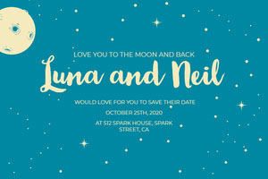 Blue and White Weddingg Invitation Facebook Banner Banner per matrimonio