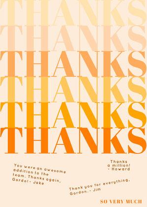 orange modern group thank you card Group Thank You Card