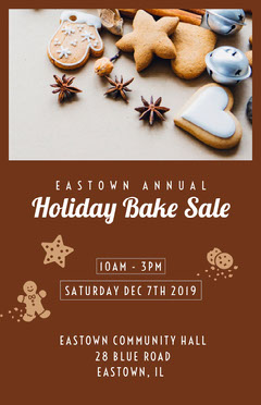 Brown and White Holiday Bake Sale Poster Sale Flyer