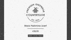 Grey and White Premium Knitwear Garment Wrap Black And White