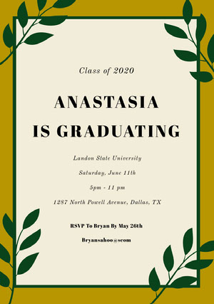 Gold and Green Graduation Party Invitation Card with Plants Convite para formatura