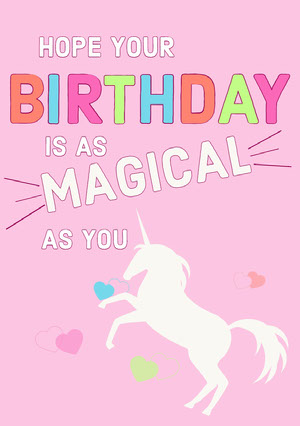 Pink and Colorful Birthday Wishes Card  Tarjeta de cumpleaños de unicornio
