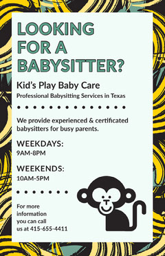 Babysitting Service Flyer with Monkey and Bananas Service